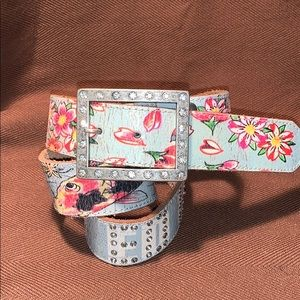 Ed Hardy almost new leather studded buckle belt